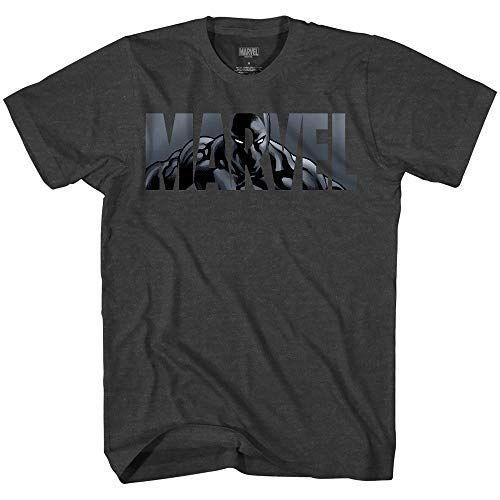 - Marvel Logo Black Panther Avengers Super Hero Adult Graphic Men's T-Shirt (Charcoal Heather, Large)