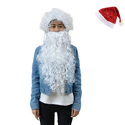 Santa Beard Wig Set Cosplay Accessory Costume Party Halloween Christmas ()