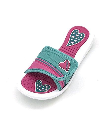 Just speed Girls Heart sandal (4, White Fuchsia Aqua) (4 Speed Slide)