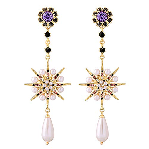 MIXIA Exaggerated Luxury Sun Moon Stars Drop Earrings Rhinestone Punk Earrings for Women Jewelry Golden Boho Vintage Earrings (Flower) ()