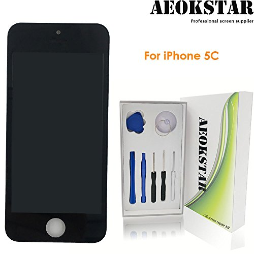 Aeokstar For iPhone 5C LCD Touch Screen Digitizer Glass Assembly Replacement With Frame & Full Repair Tools Kit (Black) from AEOKSTAR