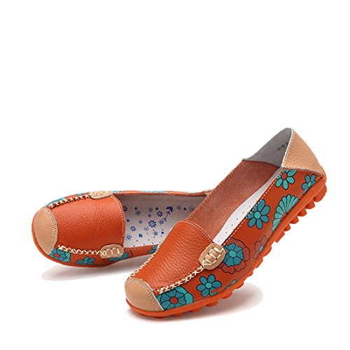 Shoes Printed Bright On Flat Flower Orange WenHong Slip Casual Leather Color Pumps Women AaWTxgPqX