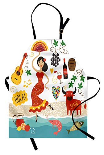 Ambesonne Spain Apron, National Elements Design Bull