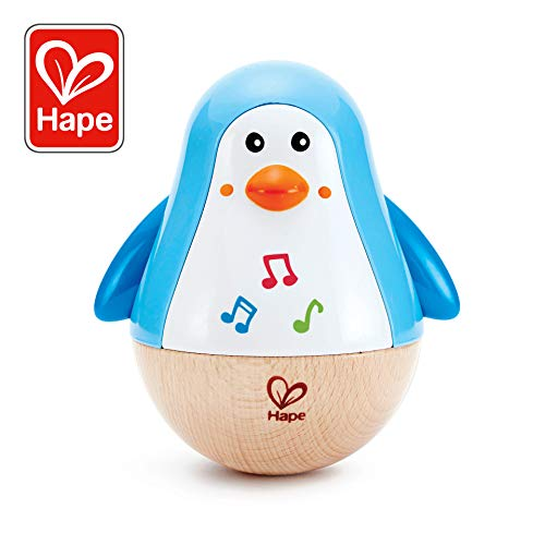 Hape Penguin Musical Wobbler | Colorful Wobbling Melody Penguin, Roly Poly Toy for Kids 6 Months+ (Ear Drops For 3 Month Old Baby)