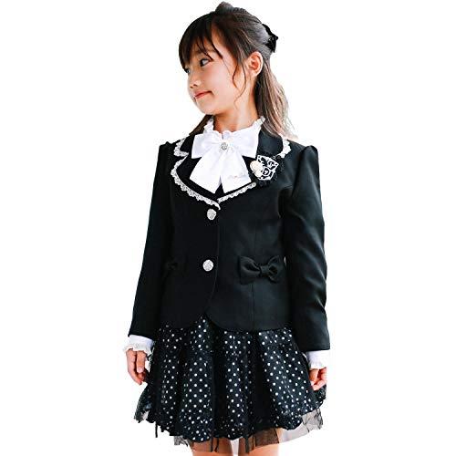 5d392e0d0cad6 入学式 女の子 スーツ ブラック×ドット スーツ 卒園式 女の子スーツ6点 ...