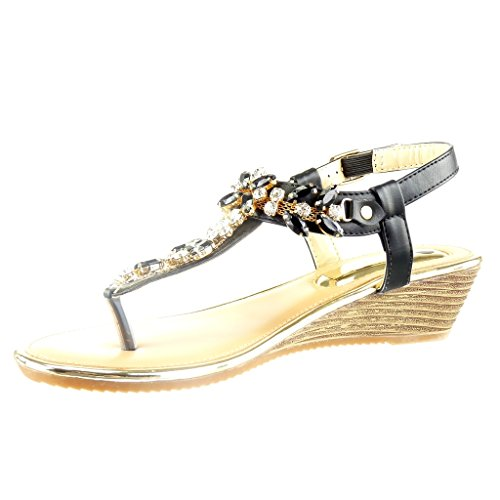 Angkorly - Zapatillas de Moda Sandalias correa abierto mujer joyas brillantes Talón Plataforma 2 CM - Negro