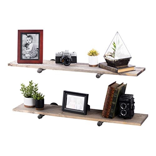 Rustic Industrial Floating Pipe Shelving, 2 Pack Gray, Distressed Aged Wood and Iron Pipes Bracket, Wall Mounted Hanging Shelf, Reclaimed Barnwood Inspired ()