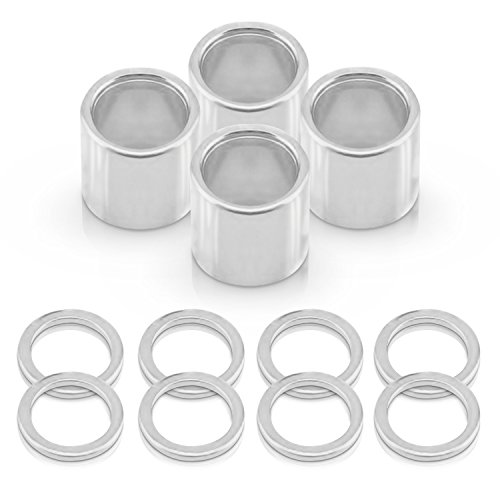 Supafly Skate Company Metal 8-Piece Speed Washer and 4-Piece Spacers for Hardware Skateboard and Downhill Longboards, Silver - Bearings Hardware