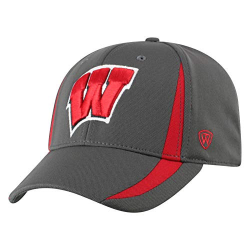 Top of the World NCAA Wisconsin Badgers Men's Performance Fitted Charcoal Triumph Icon Hat, Charcoal