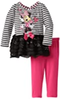 Disney Baby Girls' 2 Piece Striped Mickey Mouse Dress and Legging