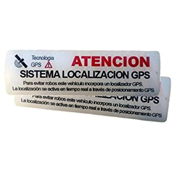 2 Pegatinas disuasorias ☆ Interior cristal localizador GPS vehiculos. Aviso Castellano ☆ Coches alquiler, adhesivos localizacion por satélite GPS ...