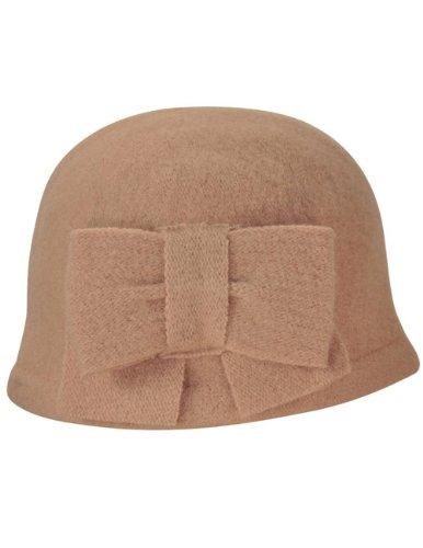 Dahlia Women's Vintage Large Bow Wool Cloche Bucket Hat - Tan -