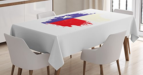 Lunarable Texas Tablecloth, Weathered Design Aged Flag of Texas State American Culture Austin Homeland, Dining Room Kitchen Rectangular Table Cover, 52 W X 70 L inches, Cream Red Royal Blue