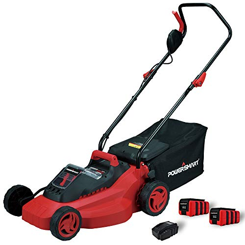 PowerSmart PS76215A 14-Inch 36V Lithium-Ion Cordless Lawn Mower, 3Ah Battery and Charger Included (Include Two Batteries and Charger)