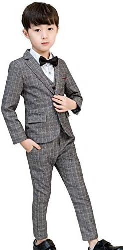 GIFT TOWER 男の子 フォーマル スーツ 子供服 洋服 紳士服 発表会 入学式 誕生日 結婚式 チェック柄 キッズ用 5点セット ボーイズ 140 グレー
