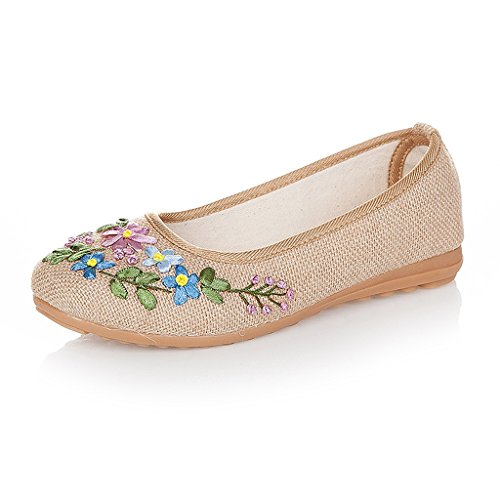 Women's embroidered shoes spring autumn non-slip flat shoes ( Color : Beige , Size : US:5\UK:4\EUR:35 )