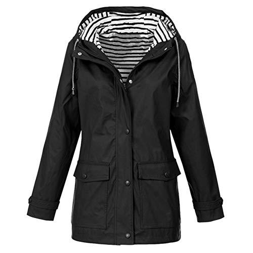 Rain Zipper Cappotto Windbreaker Jacker Giacche Inverno Outdoor Trekking Signore Autunno Casual Nero Coat Hpklsder S Donna Outwear Impermeabile w0AqPSU