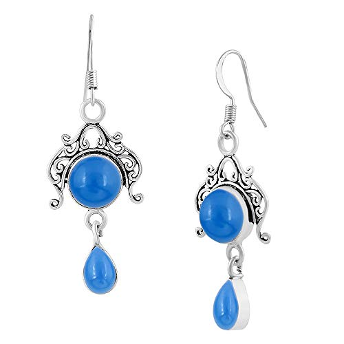 Natural Chalcedony Earrings 925 Silver Overlay handmade Dangle Earrings for women (Dangle Chalcedony Blue)