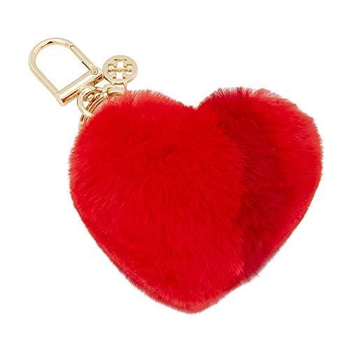 Tory Burch Striped Heart Key Fob- Red (Keychain Tory Burch)
