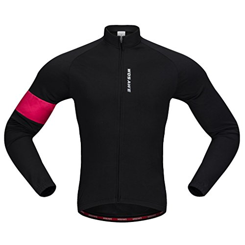 賛美歌帰する息切れFenteer ポリエステル  ブラックレッド バイク  ロング ジャージー  サイクリング  自転車 シャツ スポーツ  ジャケット   全5サイズ