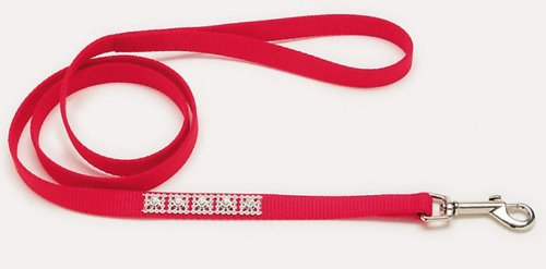 Jeweled Dog Leash - 4 Ft. Red with Swarovski Crystal Jewels with a Width of 5/8 in.