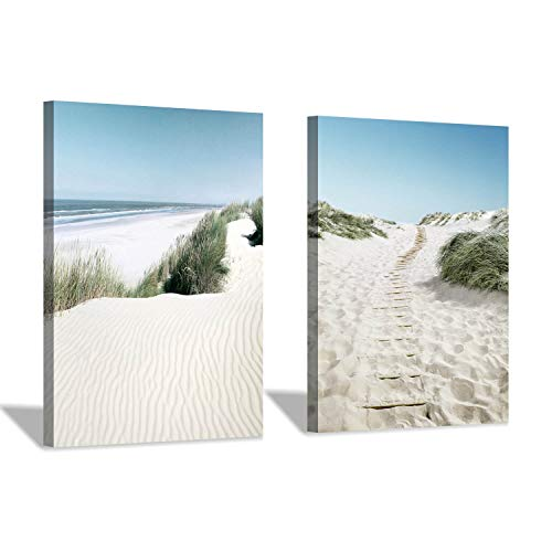 Beachscape Canvas Wall Art Print: Sand Dunes with Sea Grass Artwork Painting for Wall Decor(18''x24''x2pcs)