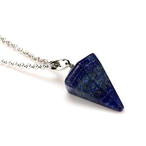 Pendant Necklace - TOOGOO(R)fashion crystal Hexagonal column Awl shape Pendant Necklace lapis lazuli