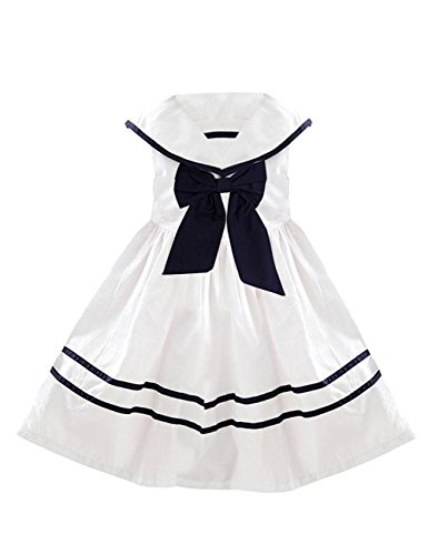 YJ.GWL Girls Nautical Sailor Dresses with Bow-Tie White Casual Sleeveless Dress for 9-10 Years Size 160 White]()