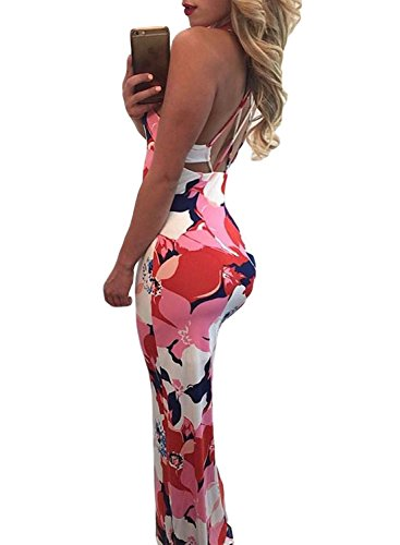 Dokotoo Womens Summer Ladies Floral Print Cocktail Maxi Long Dresses Club Pink Small