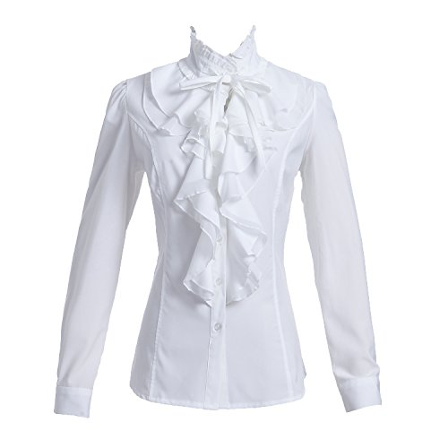 Taiduosheng Women Shirts Lace Ruffle Neck Stand-Up Collar Button down Blouse Long Sleeve OL Shirt Tops white,Large / Bust 38inch (Long Sleeve White Ruffle Blouse)