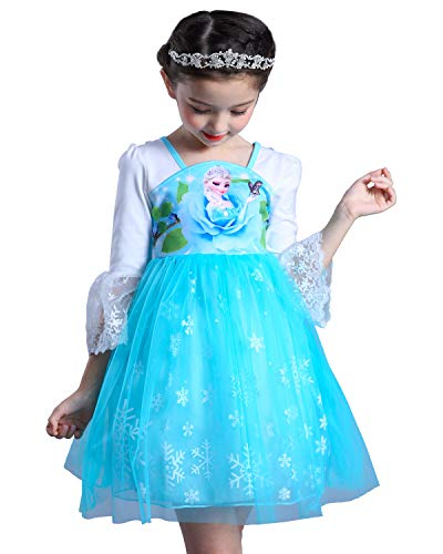 LEHNO Girls Party Dress Frozen Parttern Baby Birthday Present/Gift Lace Border (8966#Blue (Long Sleeve), 3-4Y(110cm)) -