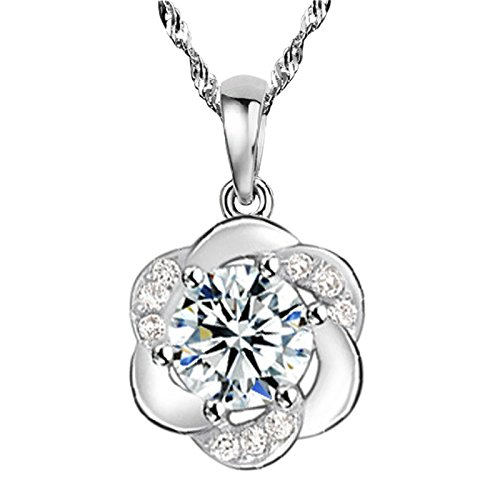 Korean 925 sterling silver necklace pendant plum women girls send his girlfriend a birthday gift plum blossoms white diamond necklace pendant does not fade