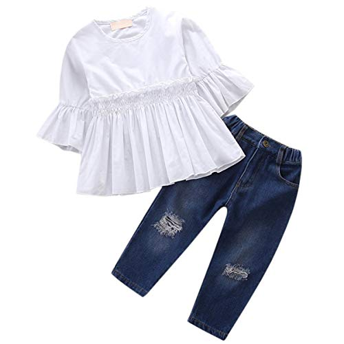 Girl Clothes Outfits Jeans Sets Ruffles Shirts + Jeans 2 Pcs Pants Sets for Baby Toddlers & Little Girls, White + Denim, 6-7 Years = Tag 140 (Best Clothes For Skinny Girl)