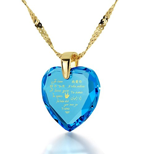 Gold Plated Heart Pendant I Love You Necklace 12 Languages 24k Gold Inscribed on Blue Cubic Zirconia, 18'' by Nano Jewelry