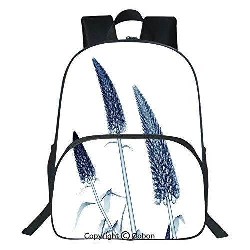 Oobon Kids Toddler School Waterproof 3D Cartoon Backpack, Gooseneck Loosestrife Flower X rays Image Exotic Plants Blooms Artful Home, Fits 14 Inch Laptop