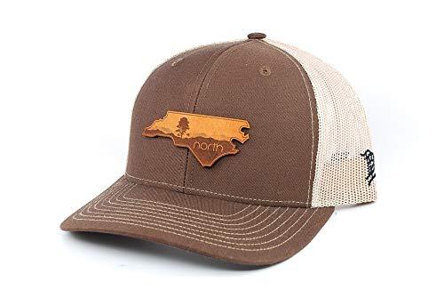 Leather Blue Ridge (Branded Bills North Carolina 'The Blue Ridge' Leather Patch Hat Curved Trucker - OSFA/Brown/Tan)