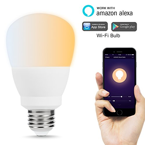 LOHAS Smart Light Bulbs, Wifi Bulb, Tunable White Dimmable LED, Warm White to Daylight, 60W Light Bulb Equivalent, A21 Smart Home LED E26 Base Work with Amazon Alexa, 810LM, 2000K to 6500K Lighting