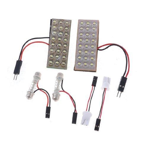 eDealMax Sombrero de paja Panel 24 DE luz LED Blanco + T10 Adaper del Adorno 2 PC