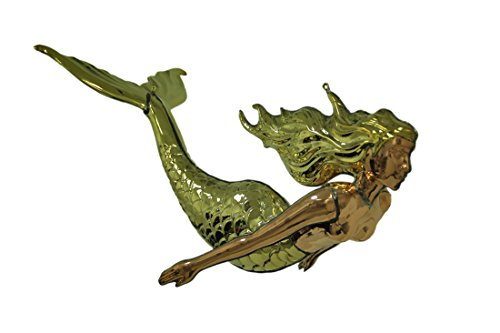 Zeckos Polished Brass and Copper 3D Hanging Mermaid Sculpture