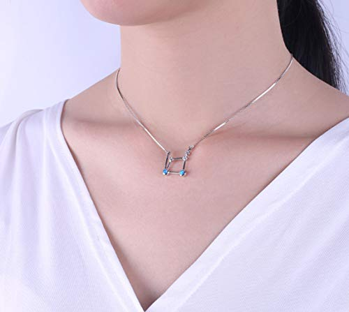 C·QUAN CHI Jewelry Opal Pendant Necklace for Women 925 Sterling Silver Libra Horoscope Necklace Zodiac 12 Constellation Pendant Necklace