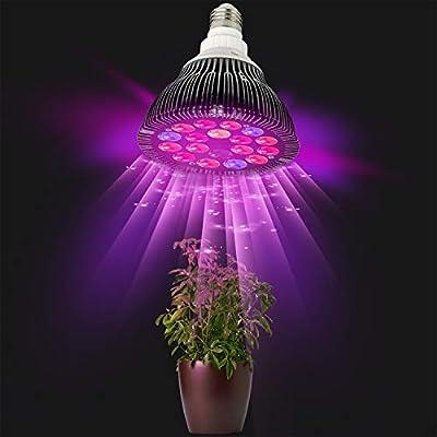 nielado 36 W E27 LED planta Lamp Bombilla LED Grow Light Full Spectrum Silencioso crecer Luz For Hydro ponics and Green House (18LEDs, 5 de coleccionista)