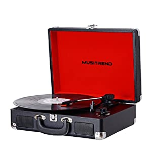 Vintage Portable Record Player, 3 Speed Turntable Player with Built in Speakers, LP Vinyl to MP3 Recording, Suitcase/Briefcase Style, Headphone Jack, Aux Input & RCA Output