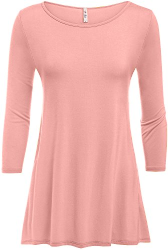Simlu Peach Tunic For Women 3/4 Sleeve T Shirt Tunic Made In USA,Peach,Small