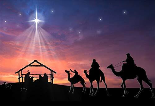 AOFOTO 7x5ft Stable Nativity Scene Background Shiny Star Birth of Christ Jesus Camels Sheeps Sketch Manger Scene Background for Church Concert Decor Religion Photography Wallpaper Photo Studio Props (Wallpaper Manger Christmas)
