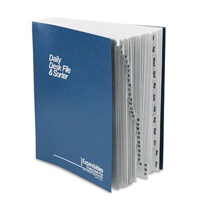 Expandable Desk File, 1-31/Jan-Dec Index, Letter Size, Pressboard, Black/Blue, Sold as 1 Each