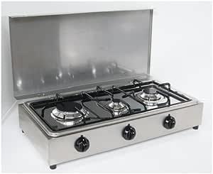 Hornillo de mesa de acero Parker con 3 fuegos con tablero extraíble para la limpieza de alimentación de gas GLP (bombona) para uso exterior