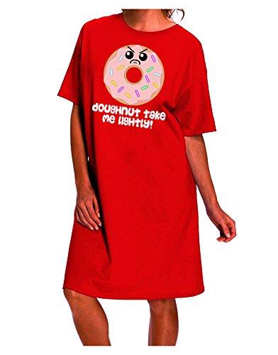 TooLoud Doughnut - Doughnut Take Me Lightly Dark Night Shirt Dress - Red - One Size