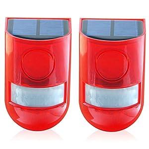 Solar Security Light Alarm, 2 Pack, IP65 Waterproof PIR LED Motion Sensor Flashing Light Lamp, Built in Battery, Energy…
