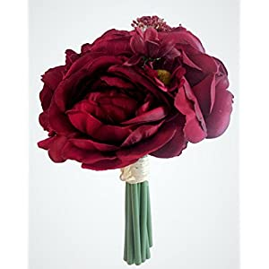 Deep Bordeaux Red Silk Peony,Ranunculus, Rose Small Bouquet, Wine, Bridal, Bridesmaid, Nosegay, Miniature Bride, Gift, Vase, Tabletop, Floral Arrangements, Office, Wedding, DIY, crimson, Rouge, 7