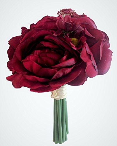 Deep Bordeaux Red Silk Peony,Ranunculus, Rose Small Bouquet, Wine, Bridal, Bridesmaid, Nosegay, Miniature Bride, Gift, Vase, Tabletop, Floral Arrangements, Office, Wedding, DIY, crimson, Rouge, (Bouquet Bridal Nosegay)